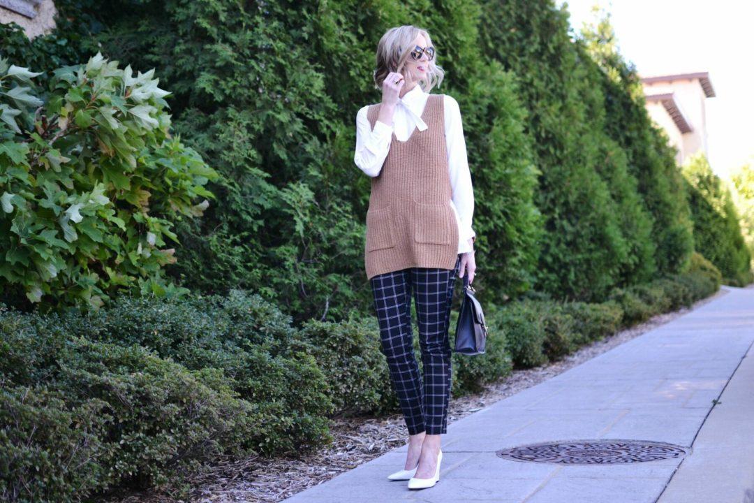 Gapy Factory slim city pants, bow top, camel vest, white heels 2