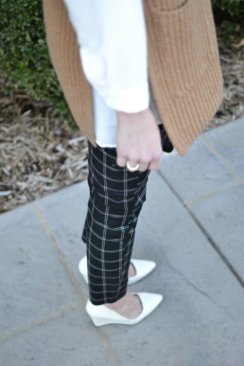 Gap Factory slim city pants, white top, camel vest, white heels