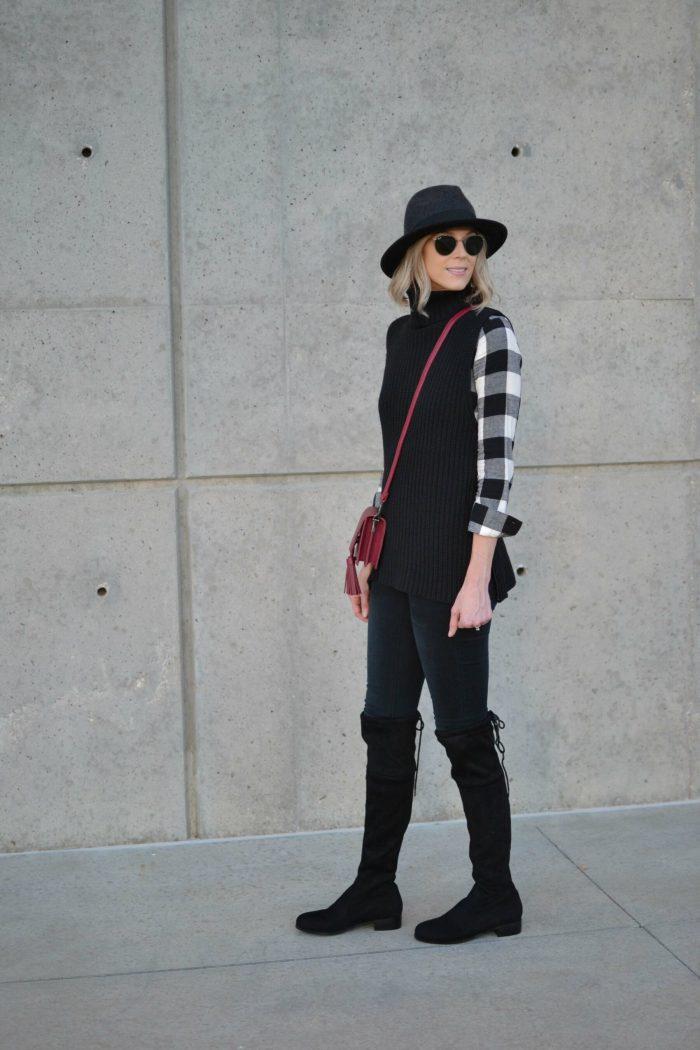 OTK boots, black jeans, plaid shirt, turtleneck sweater, hat