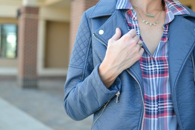 jeans, plaid shirt, leather jacket, chloe + isabel jewelry