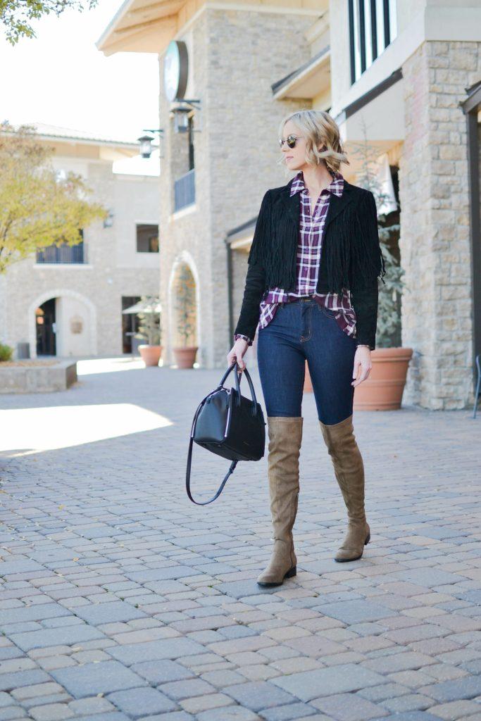 WAYF plaid, jeans, OTK boots, fringe jacket