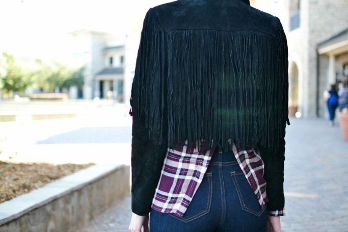 WAYF plaid shirt, jeans, fringe jacket
