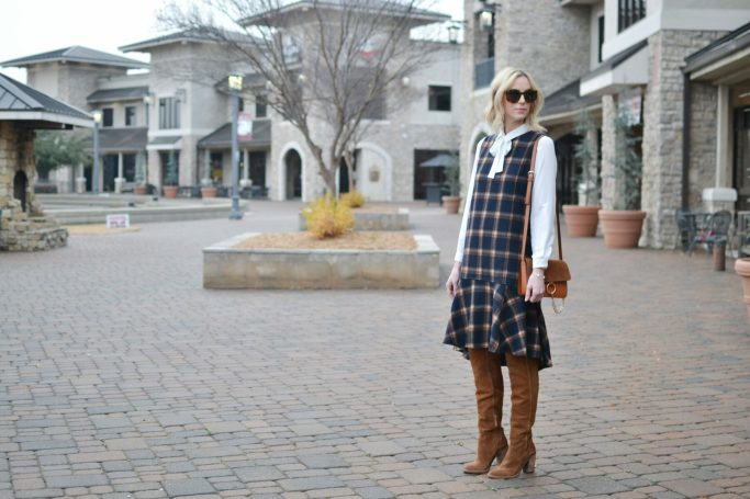Chicwish plaid shift dress, white bow blouse, Dolce Vita over the knee boots, chloe dupe bag, karen walker sunglasses