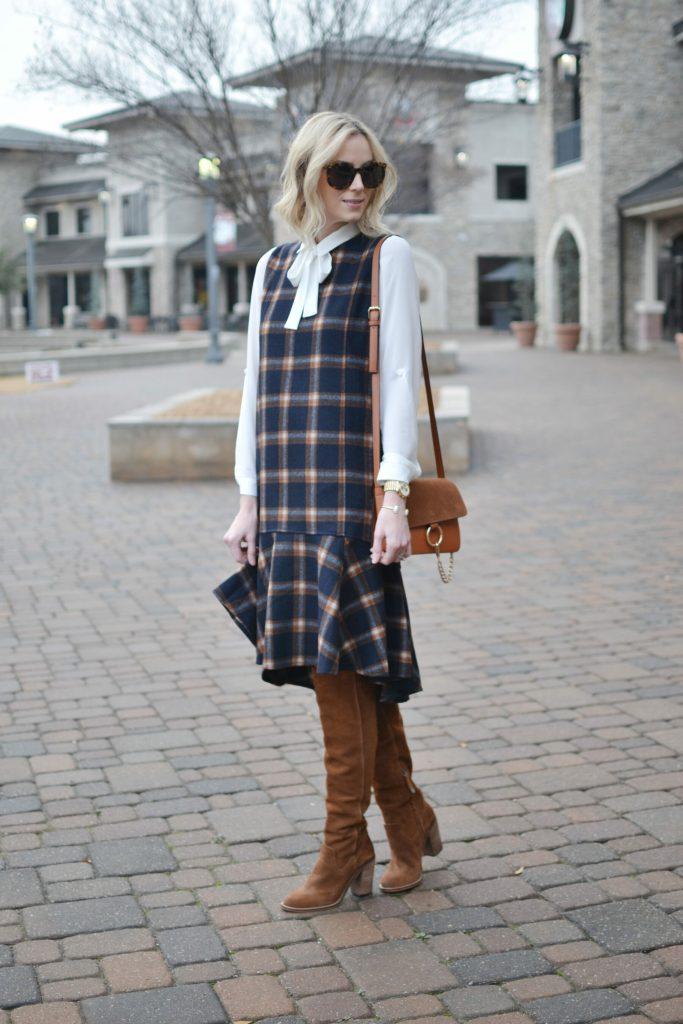 Chicwish plaid shift dress, white bow blouse, Dolce Vita over the knee boots, karen walker sunglasses