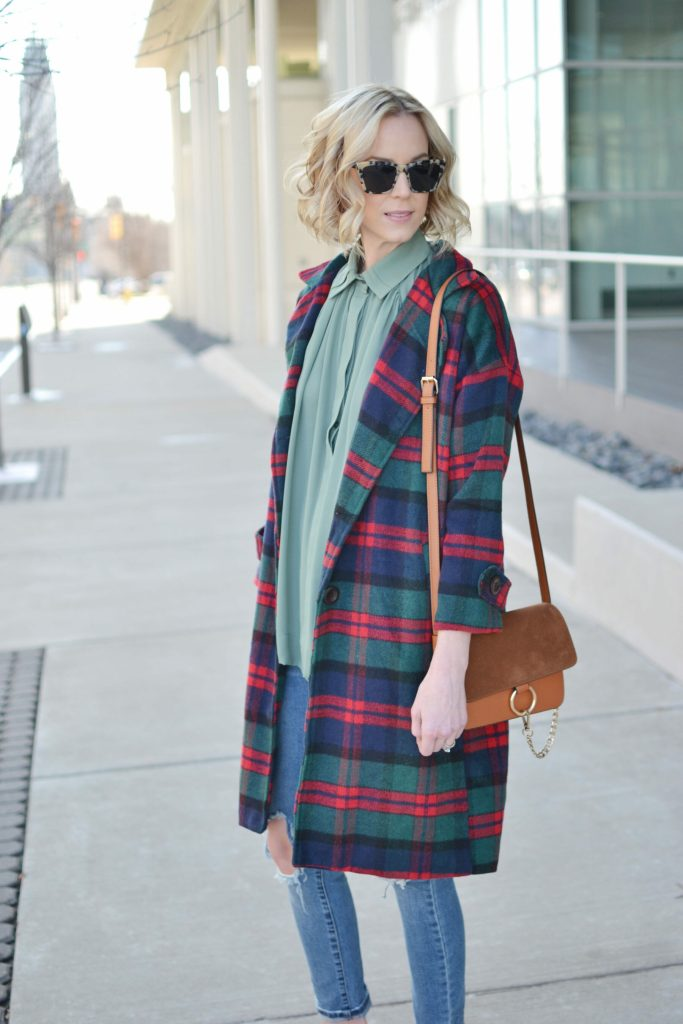 Isaac Mizrahi blouse, plaid coat, distressed jeans, chloe dupe bag