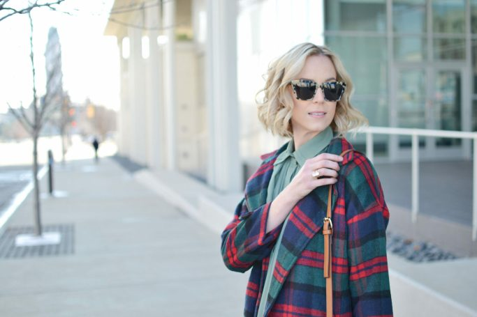 Isaac Mizrahi blouse, plaid coat