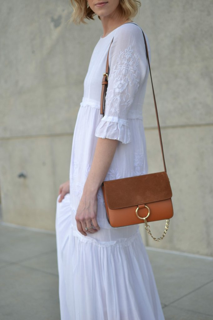 Oasap white boho maxi dress, chloe dupe bag