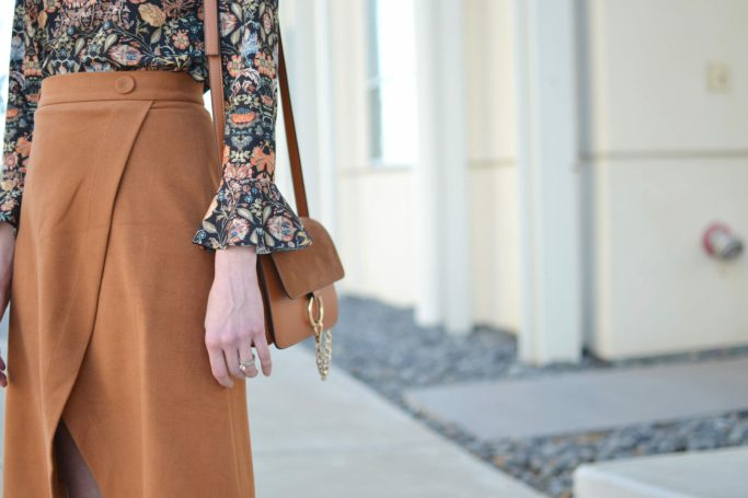 bell sleeve top, slit skirt
