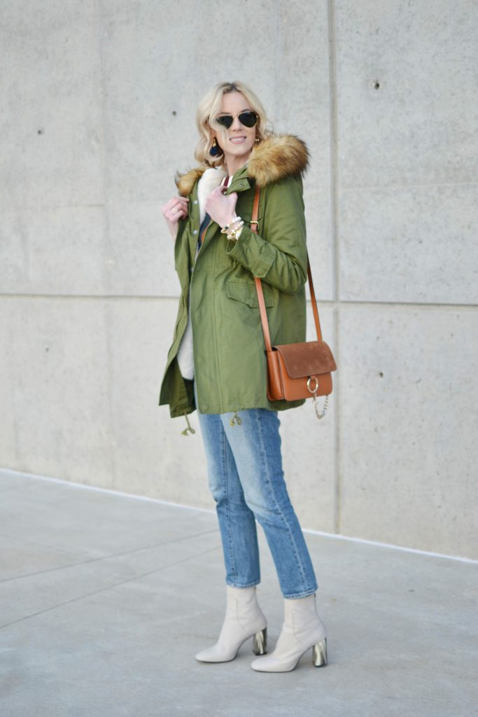 chicwish striped top, mom jeans, army green parka, tosphop cream booties