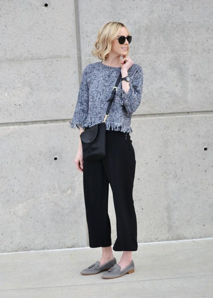 fringe grey top, culottes, grey loafers, black crossbody
