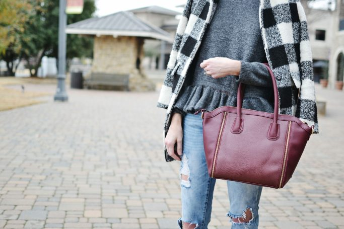 ruffle hem sweater, plaid coat, distressed jeans, Sole Society, burgundy tote bag