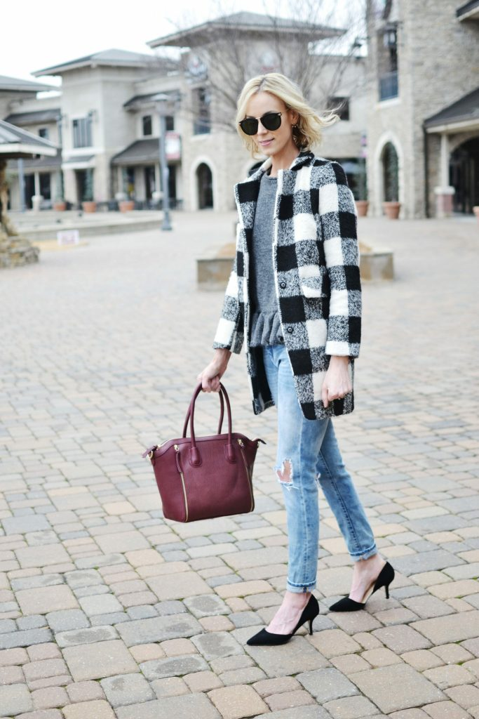 ruffle hem sweater, plaid coat, distressed jeans, Sole Society d-Orsay heels and burgundy tote bag, Karen walker sunglasses