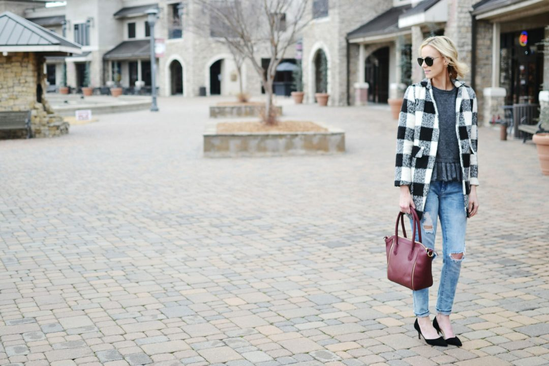 ruffle hem sweater, plaid coat, distressed jeans, Sole Society d-Orsay heels and burgundy tote bag