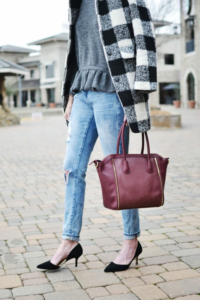 ruffle hem sweater, plaid coat, distressed jeans, Sole Society d-Orsay heels