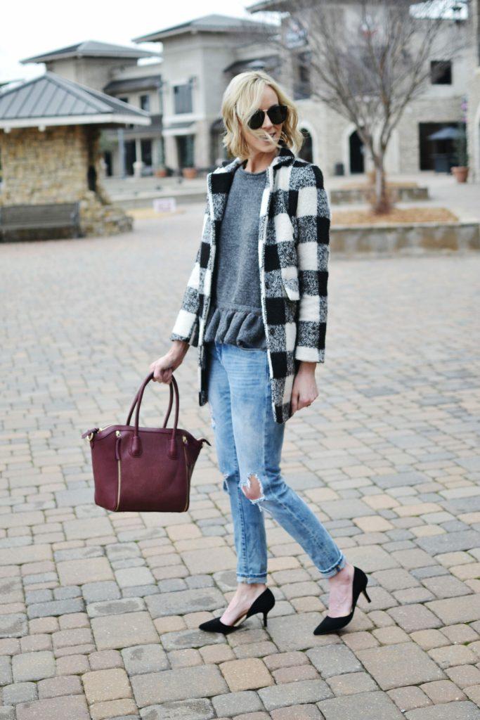ruffle hem sweater, plaid coat, distressed jeans, karen walker sunglasses, Sole Society d'Orsay heels and burgundy tote bag
