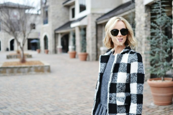 ruffle hem sweater, plaid coat