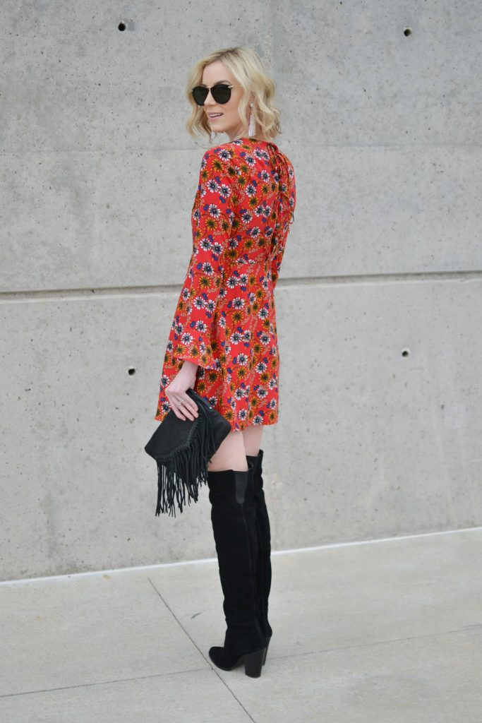 WAYF retro floral dress with tie back detail, OTK boots, fringe purse, bell sleeves