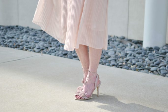 blush midi skirt, blush pom pom lace up heels, Carrie Bradshaw moment, Valentine's Day date outfit inspiration, pantone color 2016, rose quartz, lace up shoes