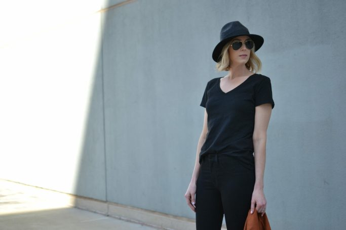 DSTLD, all black, black jeans, black v-neck tee, faux suede moto jacket, hat, ray-ban aviators, black peep toe booties