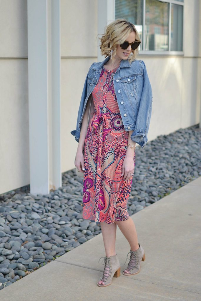 Tommy Bahama dress, denim jacket, JC lace up booties
