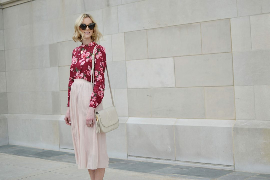 61ebfc031a 4 Ways to Style a Pleated Blush Midi Skirt - Straight A Style