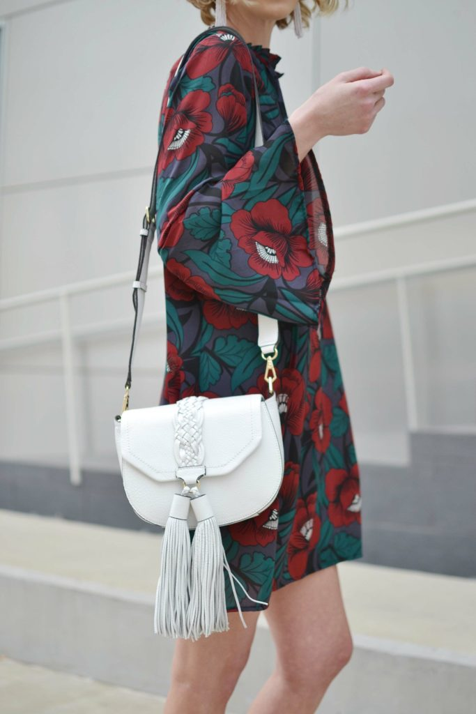 dark floral short dress, Rebecca Minkoff white bag, black lace up sandals, spring outfit ideas