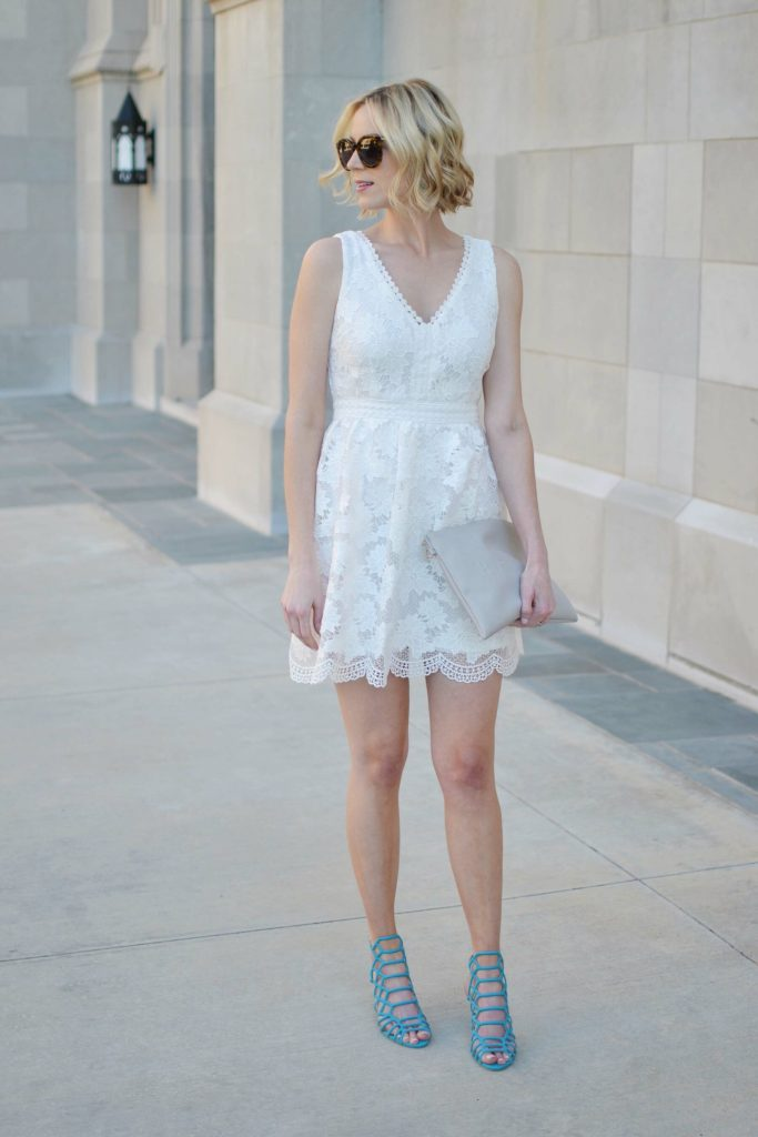 white lace dress, little white dress, turquoise heels, grey clutch