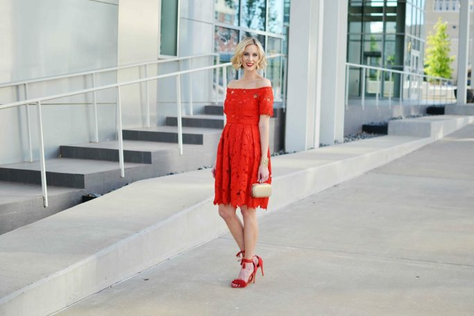 Red lace off the shoulder floral dress, red lace up heels, red lipstick, spring wedding, summer wedding
