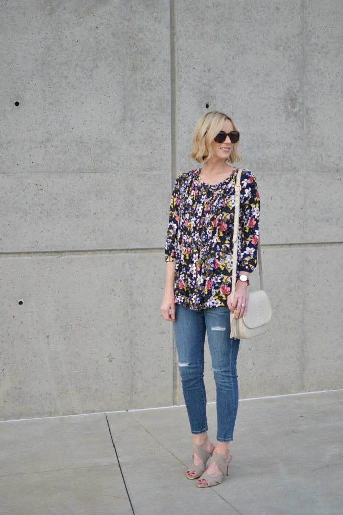 foral and distressed denim 1