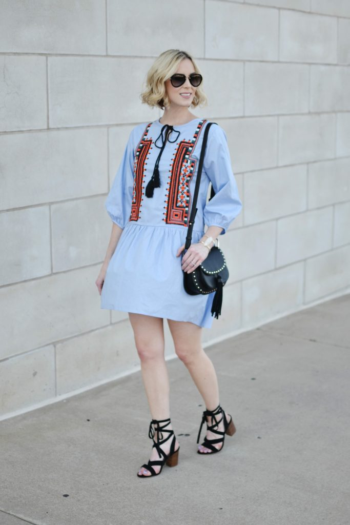 Embroidery and lace up shoes are big trends for summer. Pair them together for the perfect outfit combo.