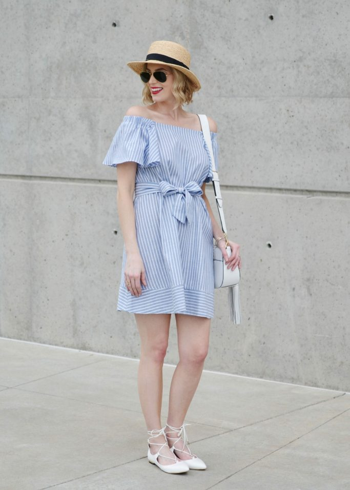 blue and white striped off the shoulder dress, white lace up flats, white tassel bag, straw hat, red lip