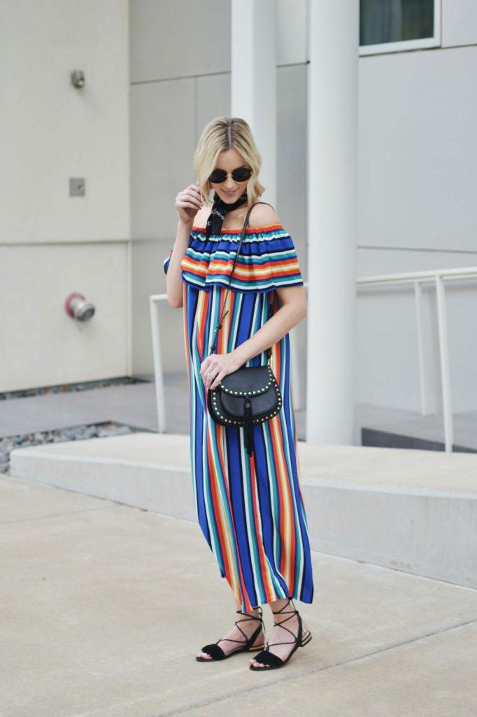 colorful OTS dress with bandana 3