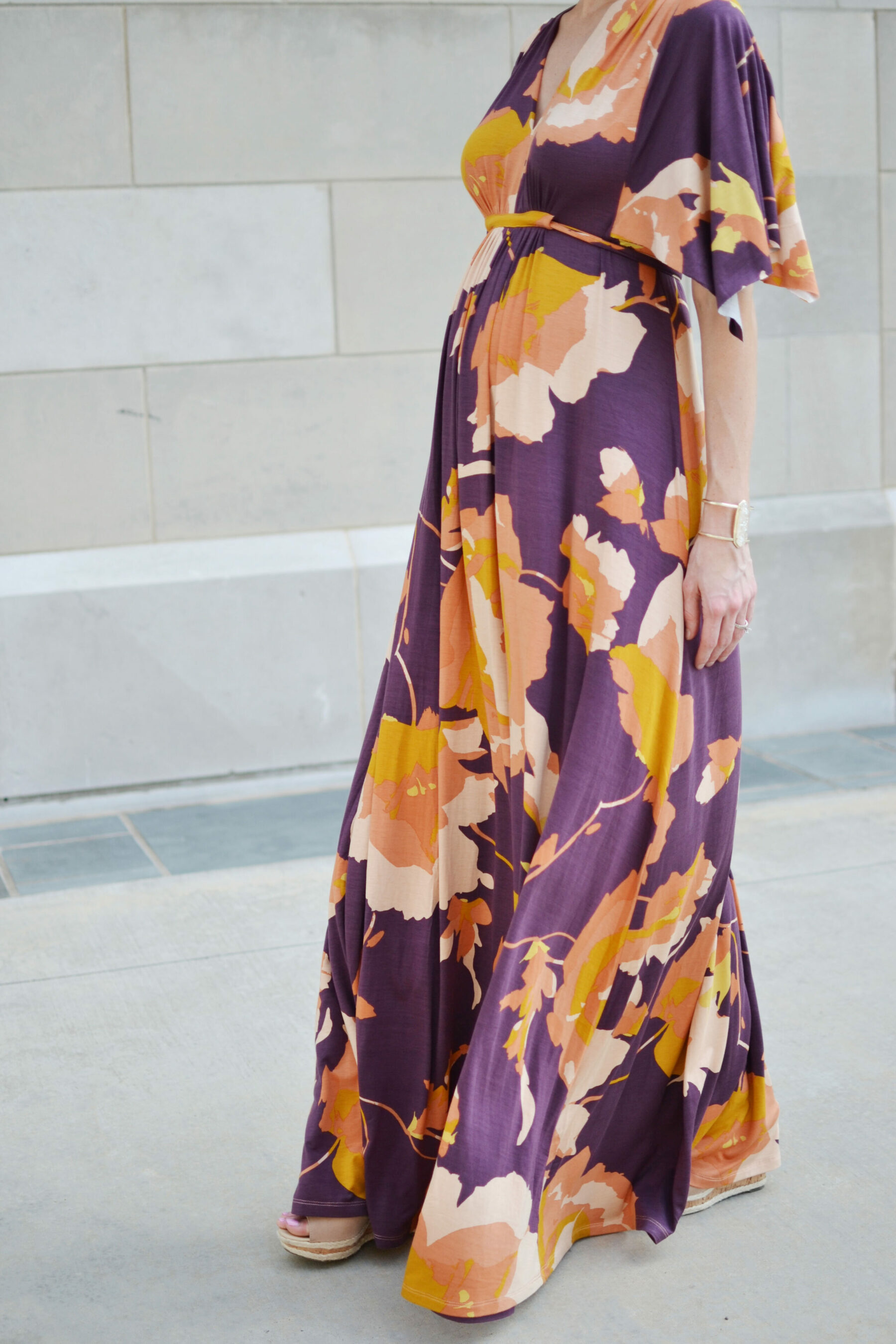 The most flattering dress straight a style pregnancy pea in the pod floral kimono maxi dress maternity style pregnancy ombrellifo Images