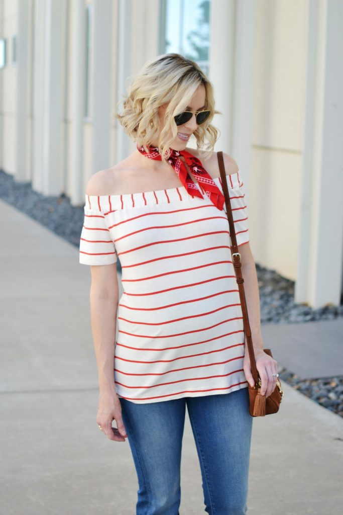 striped ots top and jeans