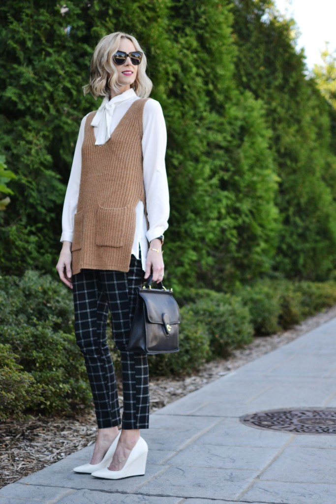 gapy-factory-slim-city-pants-bow-top-camel-vest-white-heels-1