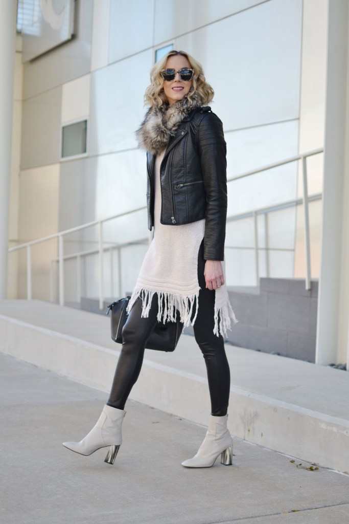 fringe-hem-tunic-sweater-leather-jacket-faux-fur-scarf-leather-leggings-cream-mod-style-booties