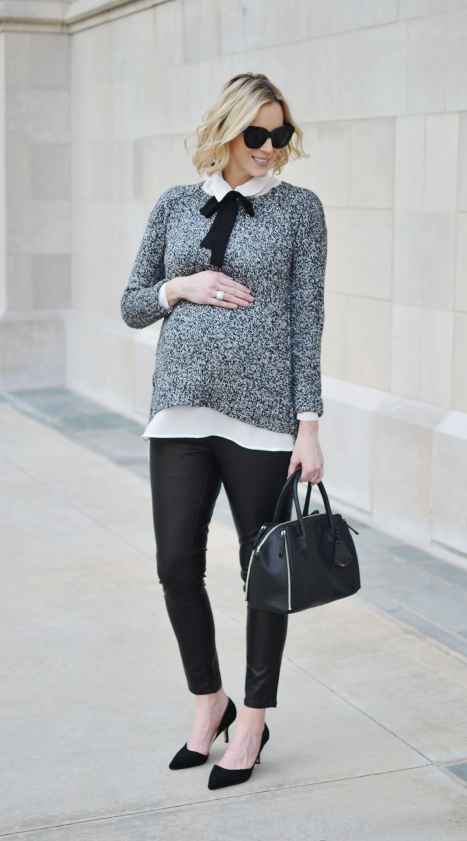 grey sweater, bow blouse,, leather pants, stylish maternity outfit idea, fall outfit idea