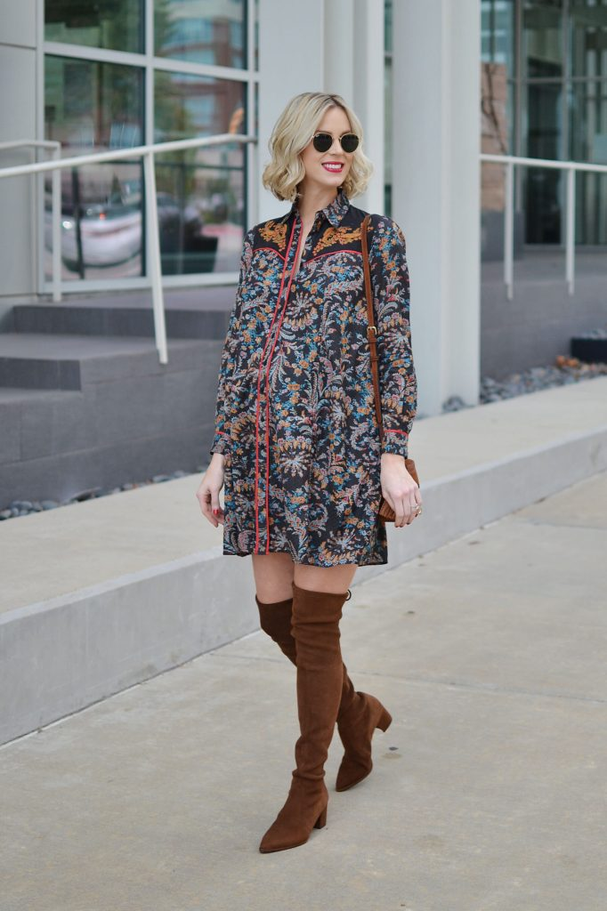 swing dress, tan over the knee boots, 70s flare, stylish maternity outfit, fall outfit