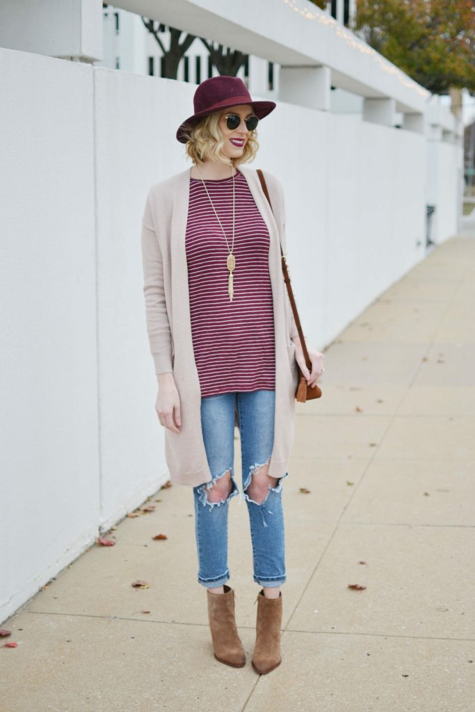 casual outfit idea, jeans, cardigan, booties
