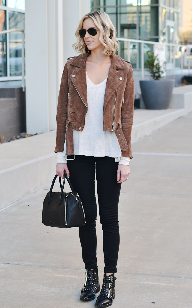 black jeans, suede moto, thermal 2