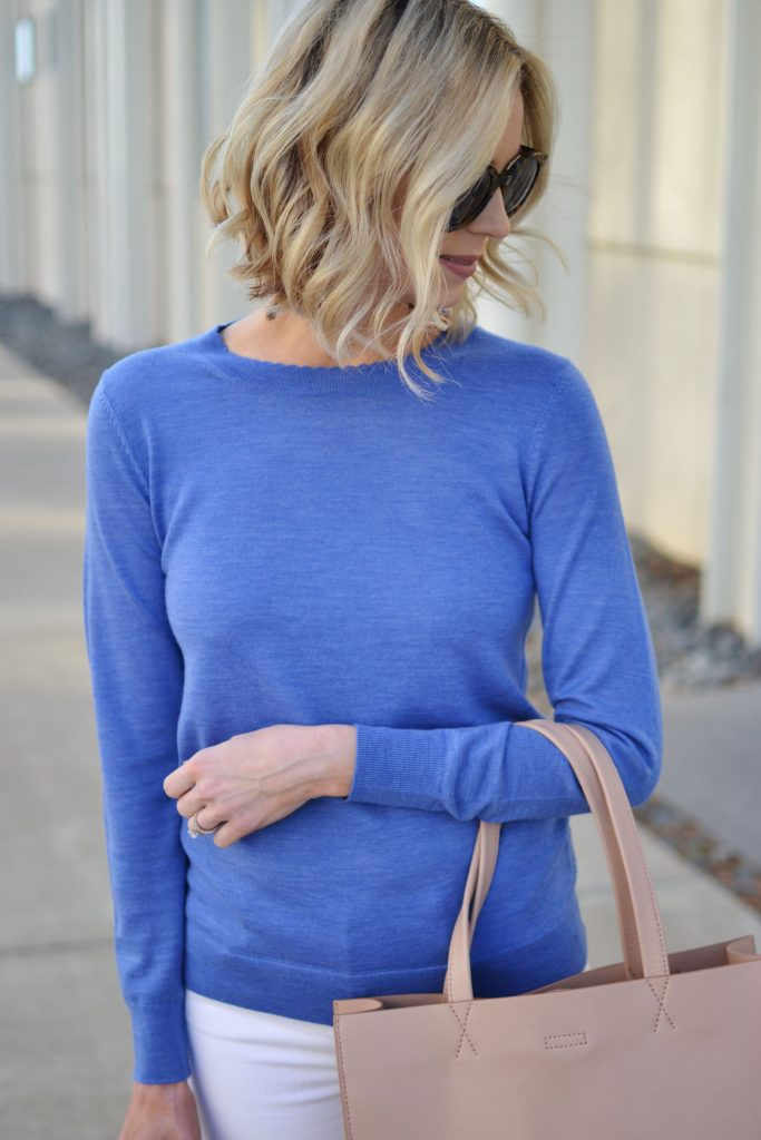 Banana Republic blue scallop neck sweater