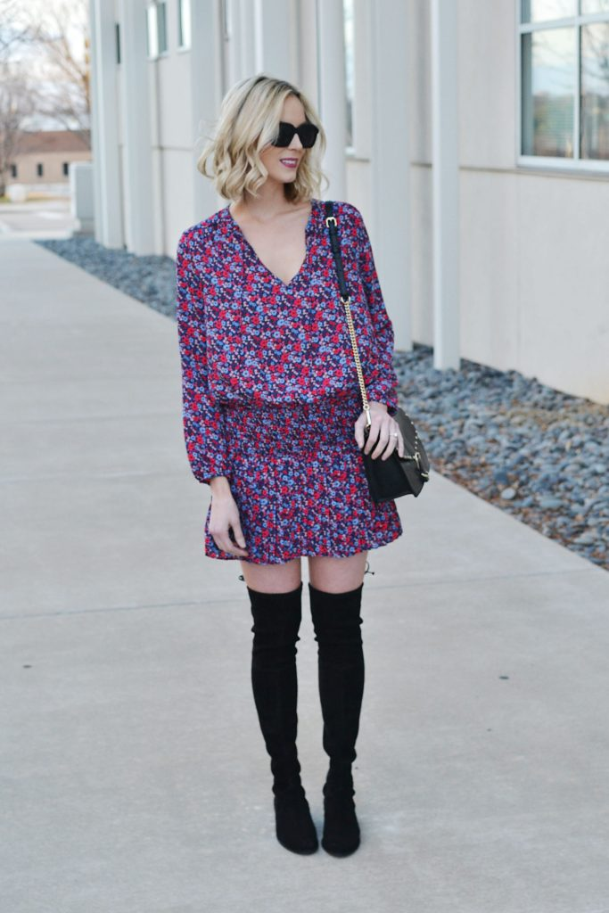 pleated drop waist dress with over the knee boots