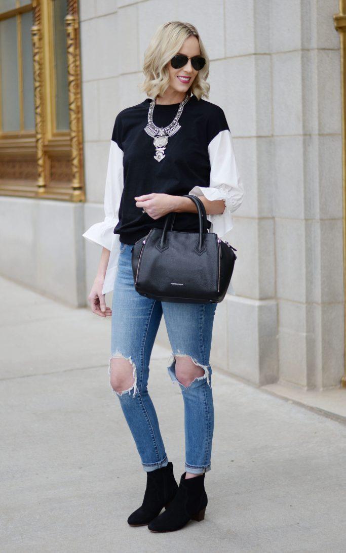 mixed media bow sleeve top