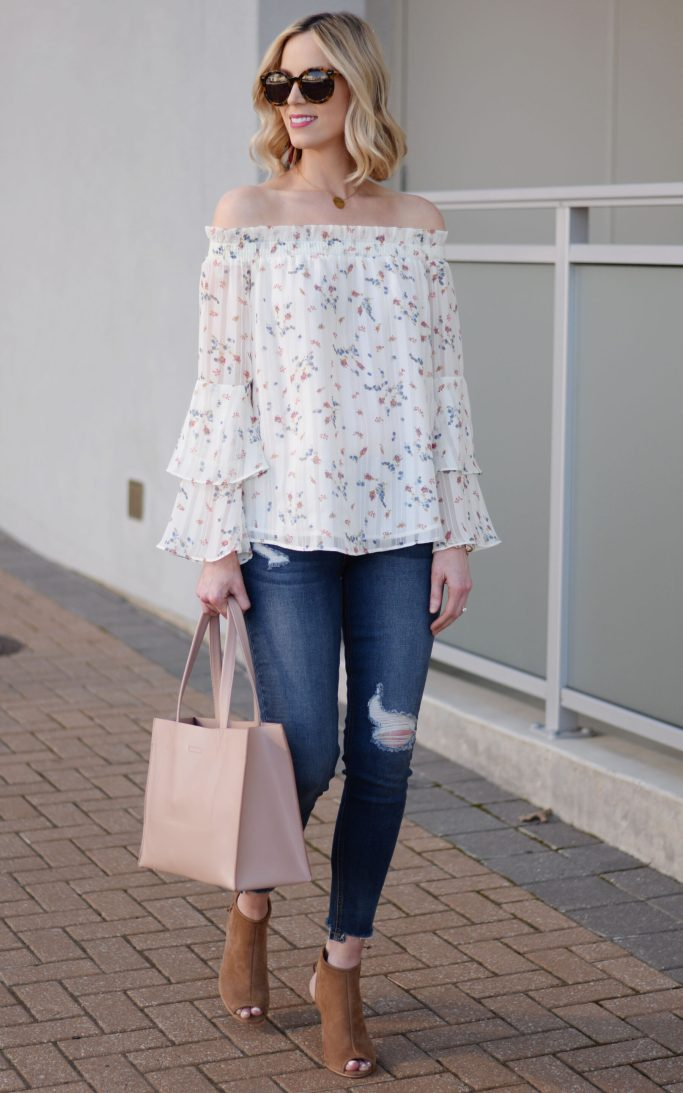floral off the shoulder top, jeans, peep toe booties, spring outfit idea