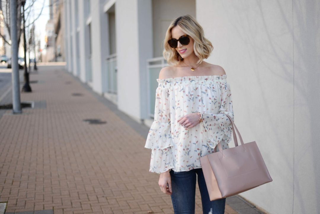 4ad079e4b214da This floral off the shoulder top is giving me all the spring vibes. I love  the tiered ruffle sleeves. They are subtly feminine and so pretty.