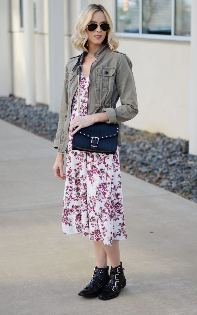 floral dress with utility jacket