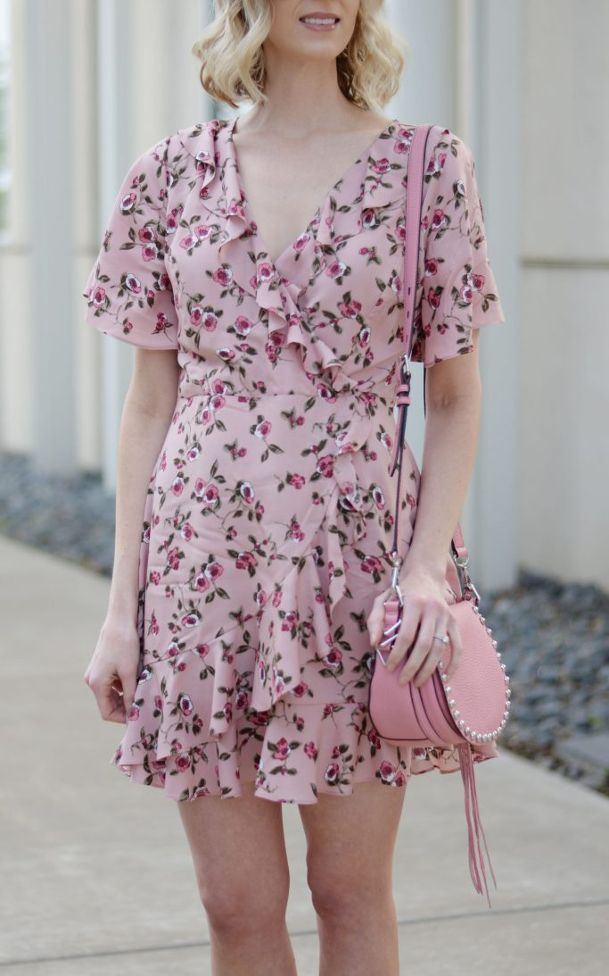 floral wrap dress, ruffles, pink floral, pink rebecca minkoff unlined saddle bag, spring outfit idea