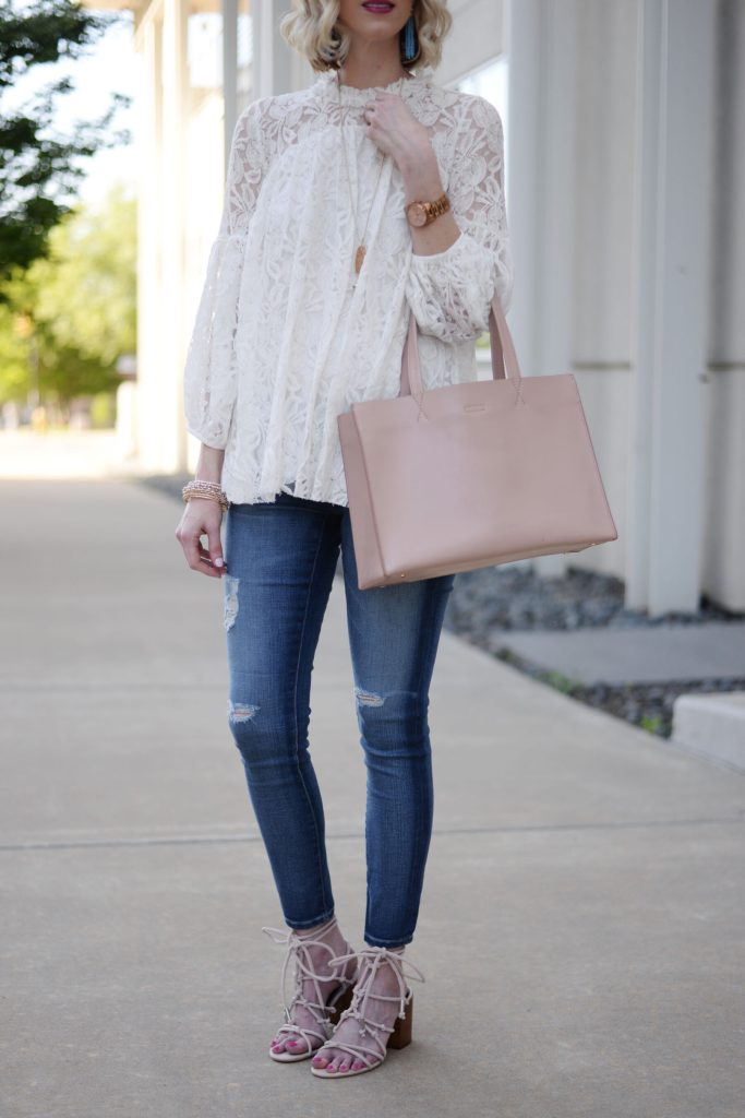 white lace overlay blouse, distressed denim, blush tote, blush lace up sandals