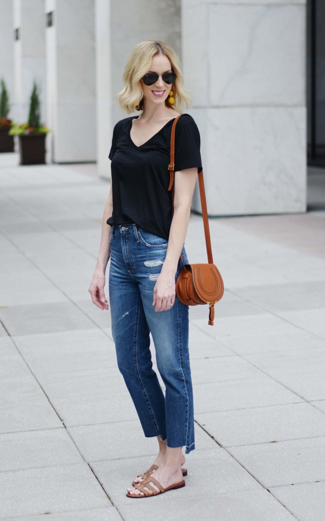 the jeans of the summer, AG semi-annual sale, AG phoebe jeans, n neck tee, Chloe marcie bag