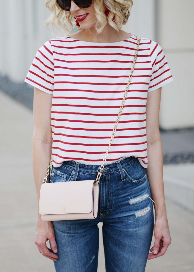 Easy 4th of July Outfit Idea, red and white striped top, red lipstick, AG straight leg Phoebe jeans, espadrille wedges
